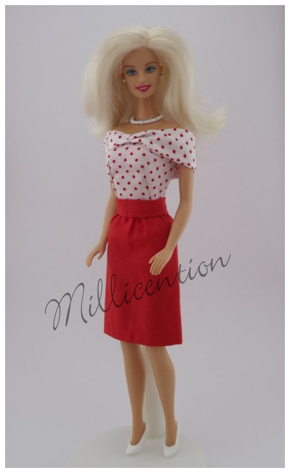 Red and white polka dot Barbie doll top & pencil skirt