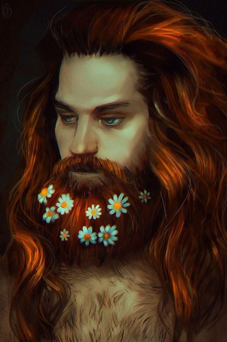 мужчина, портрет, ромашки, цветы, борода, рыжий, длинные волосы, король, усы