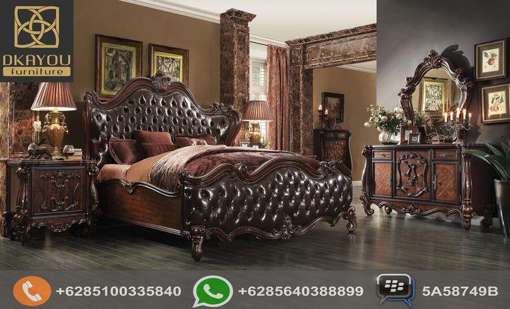 Set Kamar Tidur Mewah Klasik Eropa Dark Brown