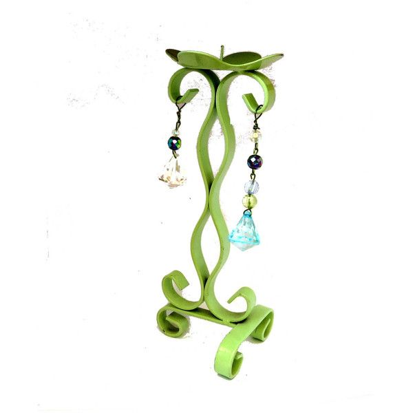 MothersDaySale Candlestick holder. Green candle holder. Metal candle... ($14) ❤ liked on Polyvore featuring home, home decor and candles & candleholders