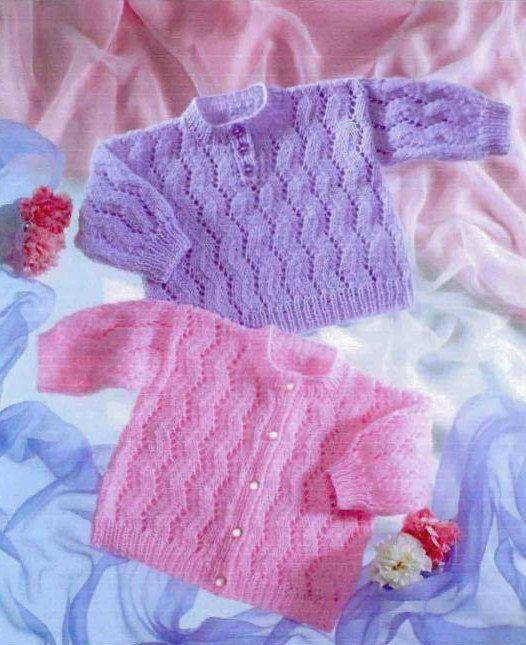 Baby Knitting Pattern PDF Lacy Cardigan & by PrettyVintageKnits, £0.99