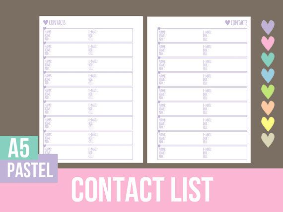 17 best contacts list images on Pinterest Free printable, Free - printable contact list
