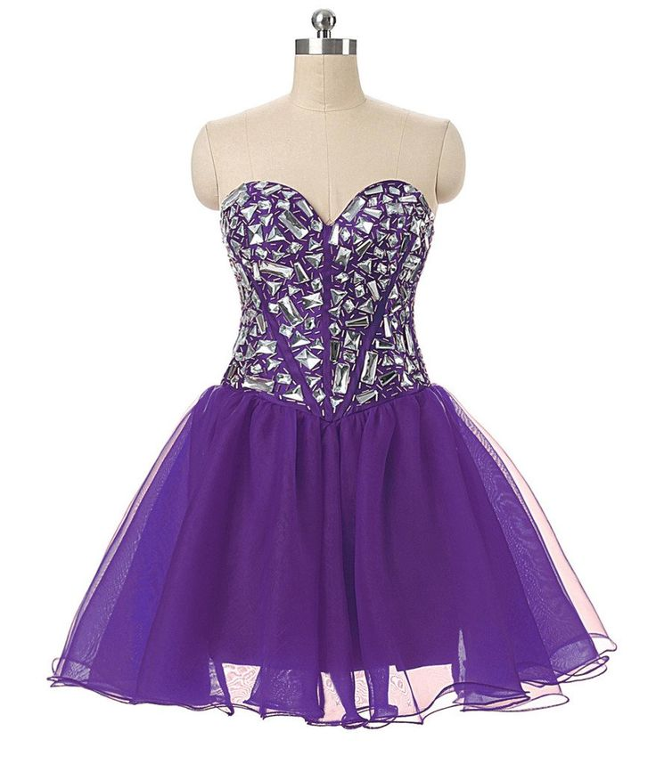 RohmBridal Women's Crystal Short Prom Cocktail Homecoming Dress Purple 30. ATTENTION: Please make sure to choose a correct size from our size chart only which is listed in the picture area on the left.Our size maybe comes smaller compared to your usually wear size. Lace up/corset back closure,sexy short organza cocktail dresses,embellished with beading crystals. We can accept customize dress.Just send us your measurements for custom made.Additional fee may be charged. Perfect for wedding...