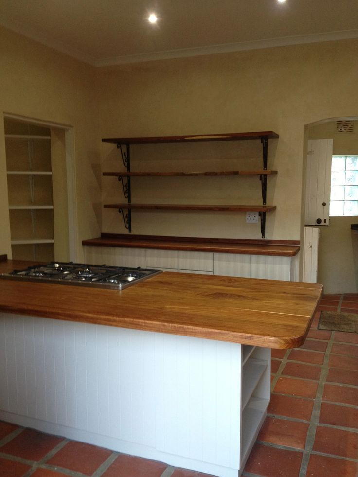 Our beautiful Kiaat wood counters and shelves.