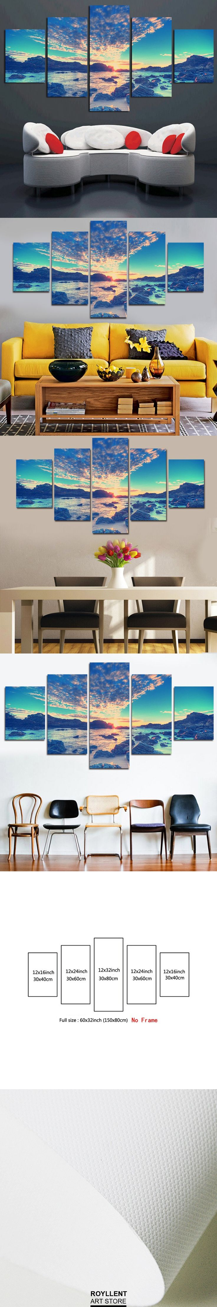 5 Panel Modern Wall Art Home Decoration Canvas Painting Canvas Prints Sea Scenery Beach Sailing Pictures Prints Art (Unframed) $31.88