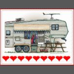 Memories of camping last a lifetime! And so do those memories of your fifth wheel camper. These whimsical fifth wheel camper post cards are as cute as they can be:) This  fifth wheel vintage camping trailer was designed by artist Richard Neuman. His uniquely styled vintage trailers artwork is collected worldwide. You will find these post cards are great fifth wheel camping trailer gifts that will make fellow camping buddies happy campers! Get the fifth wheel trailer image on post cards for…