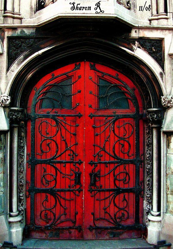 Red Door -- Beautiful Wrought Iron -- What a statement