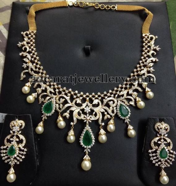 Jewellery Designs: 7 to 8 Lakhs Cute Diamond Sets