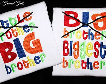 Little Brother Now BIG Brother and Big Brother Now Biggest Brother Custom Embroidered Shirts Sibling Announcement-Family-New Baby-Set of 2