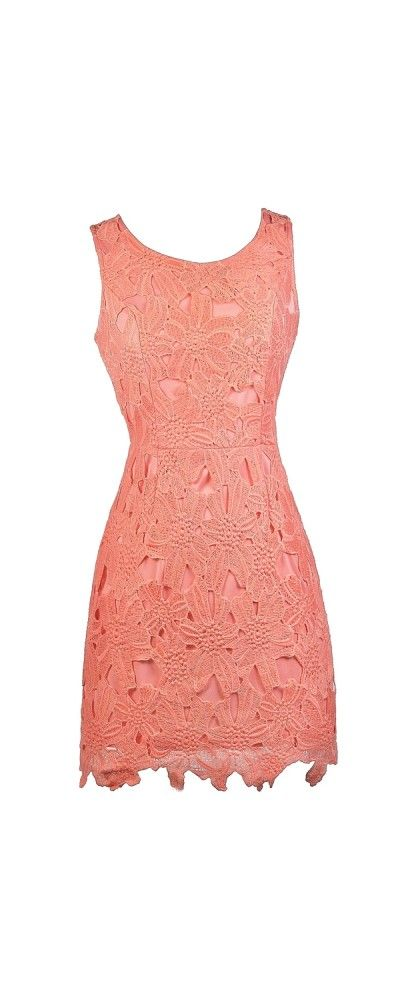 Lily Boutique Mary Oversized Floral Lace Sheath Dress in Peach, $46 Peachy Pink Lace Sheath Dress, Peach Lace Cocktail Dress, Cute Peach Lace Dress www.lilyboutique.com