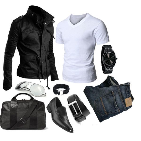 White t-shirt, jeans and watches. men look casual.