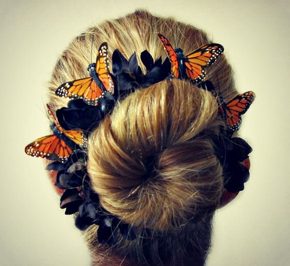 The Night Queen Bun Belt - Monarch butterfly flower crown for your hair bun, fall and Halloween. $20.00, via Etsy.