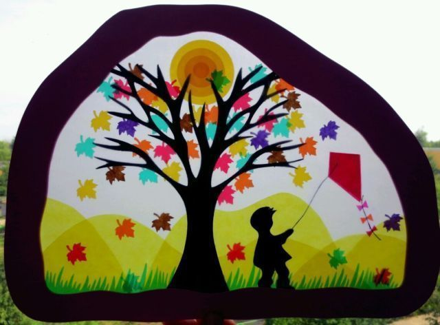 Window decorations – Waldorf großes Fensterbild Herbst – a