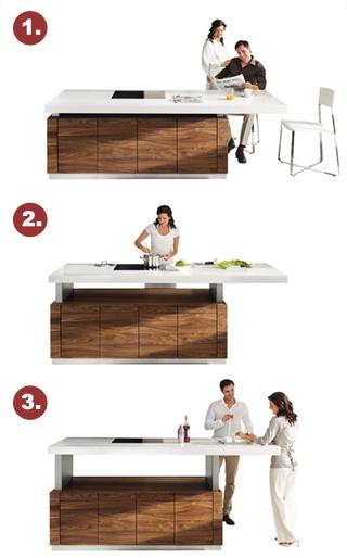 k7 kochinsel - tisch, arbeitsplatte und bar in einem