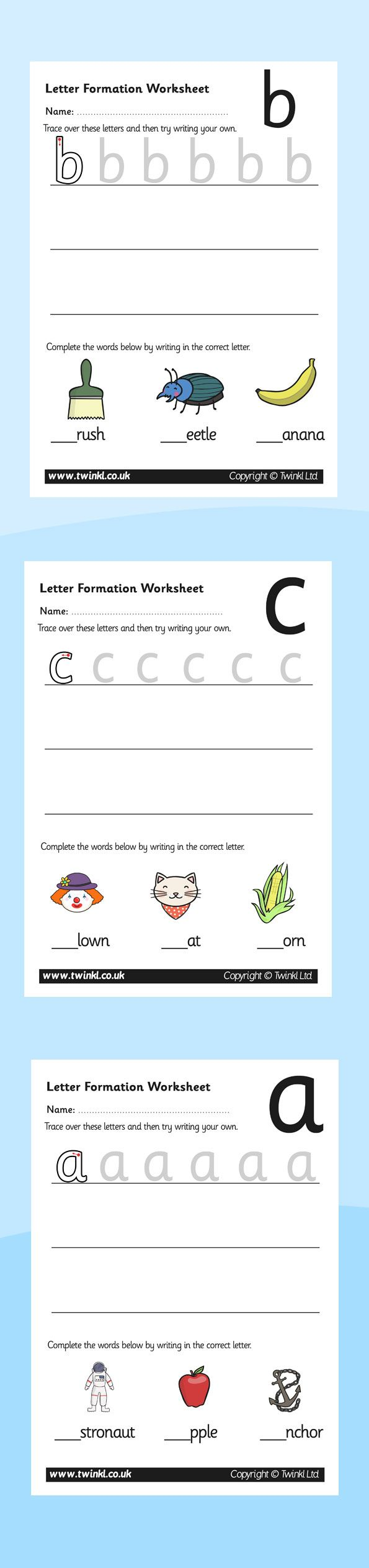 A set of letter formation worksheets for each letter of the alphabet. Each  sheet enables children to practice letter formation and apply it using the  images ...