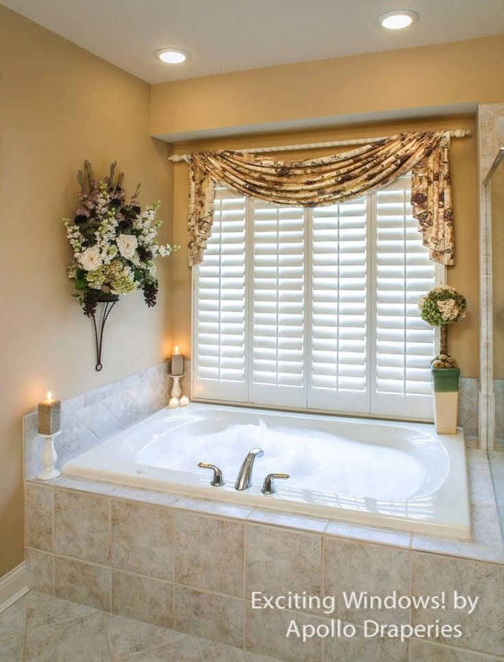 Curtain Ideas: Bathroom Window Curtains With Attached Valance