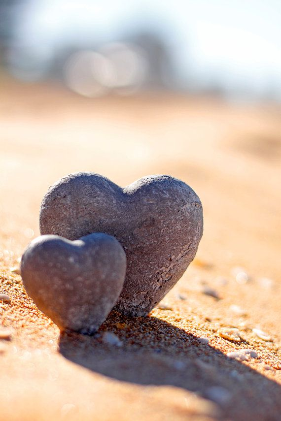 Heart Photo 5 x 7 Print. Love, Beach, I love you, Rock Hearts, Romance, Sand, Sunlight, Valentine, Love Hearts, Still Life