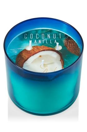 """Coconut Vanilla - 3-Wick Candle - Bath & Body Works - The Perfect 3-Wick Candle! Made using the highest concentration of fragrance oils, an exclusive blend of vegetable wax and wicks that won't burn out, our candles melt consistently & evenly, radiating enough fragrance to fill an entire room. Candle comes in beautiful colored glass with soft ombr� shading. Burns approximately 25 - 45 hours and measures 4"""" wide x 3 1/2"""" tall."""