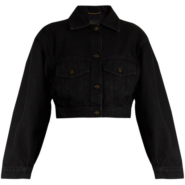 Saint Laurent Cropped denim jacket found on Polyvore featuring outerwear, jackets, black, cocoon jacket, cropped jacket, cropped denim jacket, cropped jean jacket and evening jackets