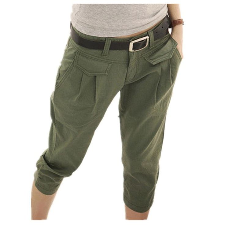 Women Pants Casual Cropped Trousers Capris Harem – Armygreen / L