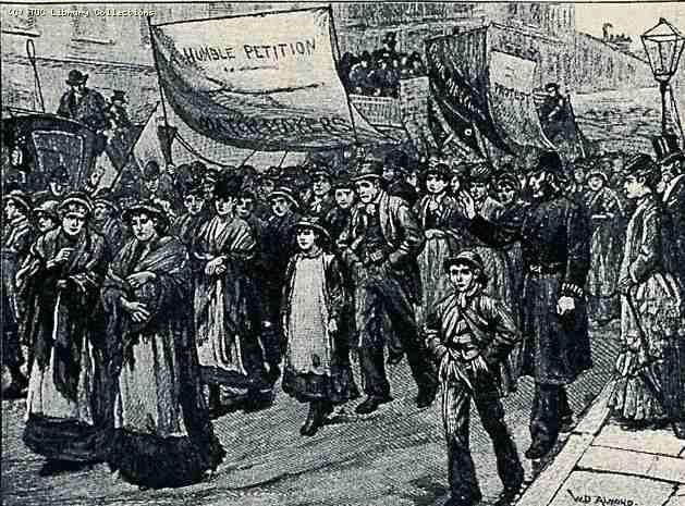 July 5, 1888: 1,500 workers go on strike at the Bryant and May match factory in London after management fires two people suspected of providing information that led to an expose about the appalling working conditions in the factory. The women and girls were subjected to fourteen-hour days, low pay, excessive fines, and the severe health complications of working with white phosphorus. The strike was quickly settled; in 1908 the British government banned the use of white phosphorus in matches.