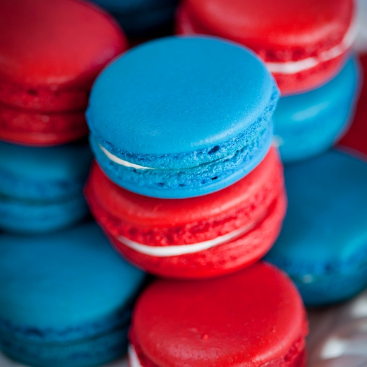 Blue and red macarons.