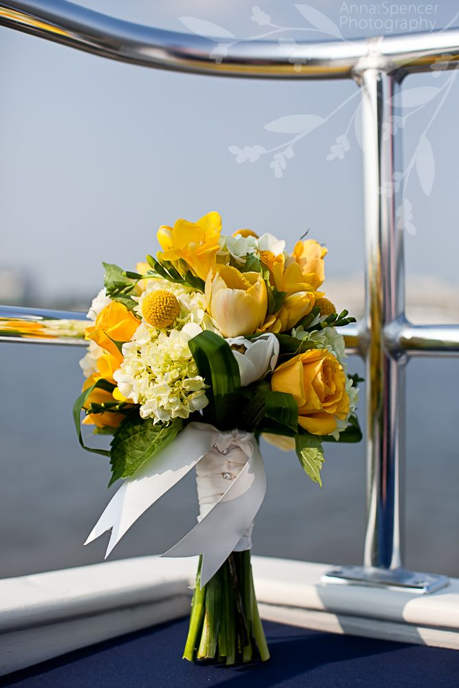 Anna and Spencer Photography, Bride's Bouquet, Yellow and Green, Nautical Wedding, Charleston Wedding