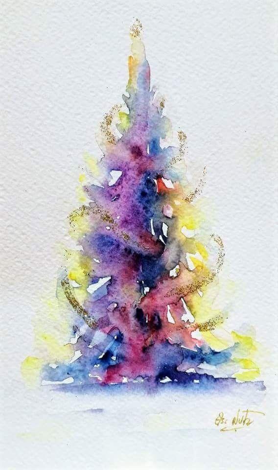 Watercolor Christmas Tree Elsa Nutz Watercolor Christmas Cards