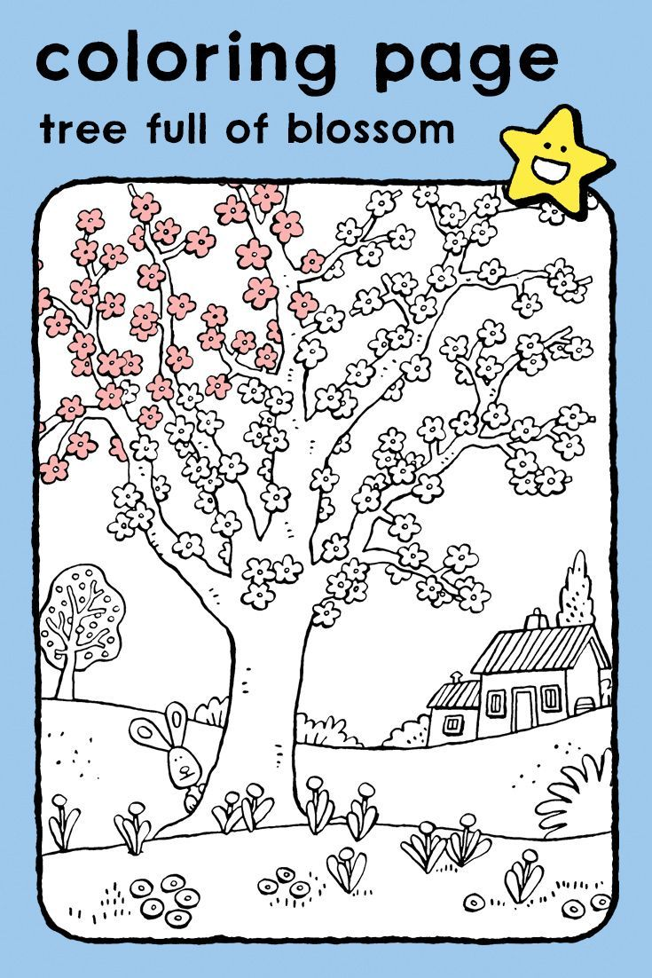 Tree Full Of Blossom Kiddicolour In 2021 Coloring Pictures For Kids Coloring Pages Animal Coloring Pages
