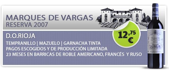 Marques de Vargas Reserva es un vino de D.O. Rioja, con uvas de las variedades 75 % Tempranillo, 10 % Mazuelo, 5 % Garnacha tinta y 10 % otras. La elaboración es clásica con despalillados. La fermentación de Marques de Vargas Reserva se realiza en depósitos de acero inoxidable durante 11-13 días a una temperatura controlada de 29ºC. Marques de Vargas Reserva, crianza de 23 meses en barricas de roble americano francés y caucásico $17.14