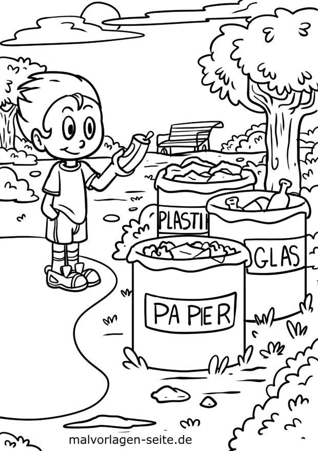malvorlage umweltschutz mülltrennung  kostenlose
