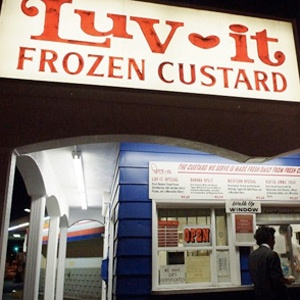 "Nevada  Luv-It Frozen Custard, a landmark in Las Vegas since the '70s, churns dense creamy custard in chocolate and vanilla daily using the same family recipe since 1973. Plus, they offer at least two additional flavors each day, like peanut butter, banana nut, raspberry, and Swiss almond, among others, and sell it from the take-out stand on the north end of the Strip. ""It is seriously the best custard you will ever eat,"" says design blogger Angie Gubler.: Peanut Butter Bananas, Las Vegas, Frozen Custard, Luvit, Favorite Places, Ice Cream, Luv It Frozen, Families Recipes, Creamy Custard"