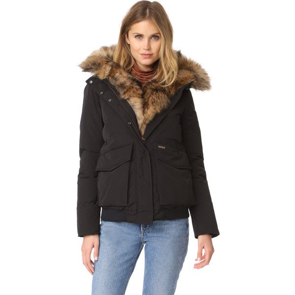 Woolrich Military Bomber Jacket (12,265 EGP) ❤ liked on Polyvore featuring outerwear, jackets, hooded military jacket, military style jacket, zipper jacket, fur trim jacket and fur jacket