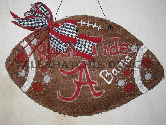 Alabama Crimson Tide Burlap Football Roll by TallahatchieDesigns, $30.00