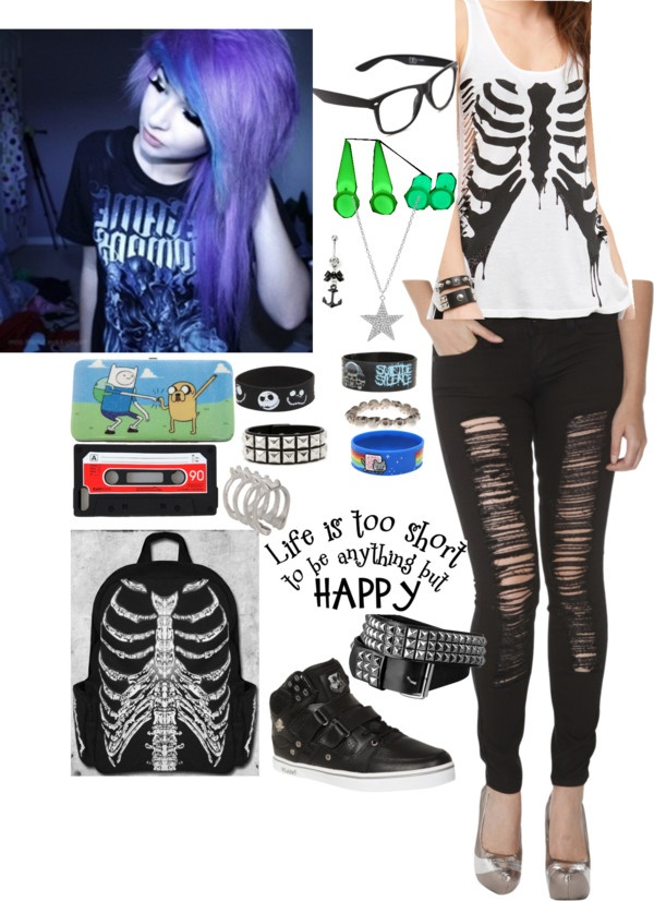 """Skeleton! Scene Outfit"" by volleychickss ❤ liked on Polyvore"