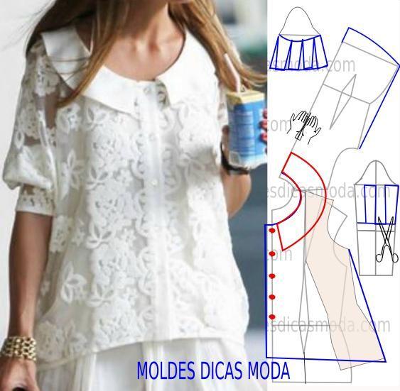 PASSO A PASSO TRANSFORMAÇÃO MOLDE DE BLUSA Desenhe o molde de blusa (base) manga, frente e costas. Desenhe a linha para a rotação da pinça/pence. Copie par