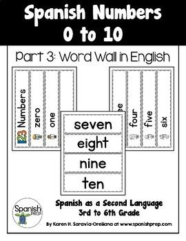 Spanish Numbers 1 to 10: Word Wall in English - FREEBIE Los Números del 1 al 10: Mural de Palabras en Inglés - Gratis ♥️ Word Wall in English The word wall has words in English. The illustrations are in color and black and white.