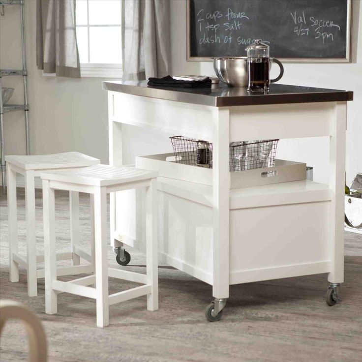 New white kitchen cart with stainless steel top at temasistemi.net
