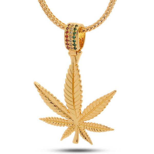 King Ice Jungl Julz 18K Gold Weed Leaf Necklace ($80) ❤ liked on Polyvore featuring men's fashion, men's jewelry, men's necklaces and gold