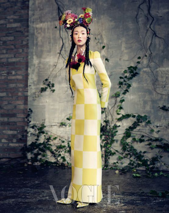 ALCD Yellow, dress, shoes, outfit flowers, fashion, mad hatter,Vogue Korea // February 2013