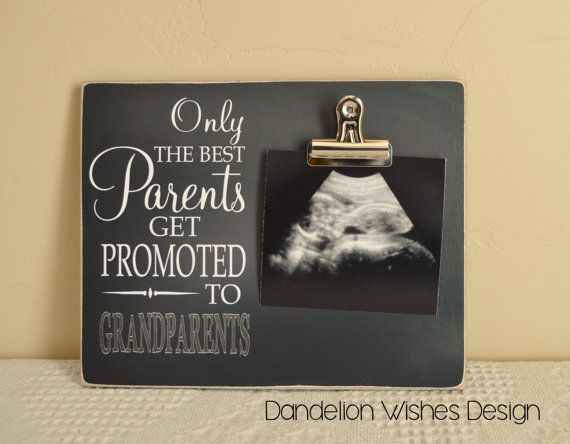 Only The Best Parents Get Promoted to Grandparents,  8x10 photo board with photo display clip; New Grandparent Gift, Pregnancy Reveal