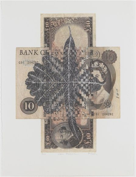 Fiona Hall, 'Cross Purpose', 2003.  Photo lithograph on Aquarelle Arches paper, 61 x 46 cm, signed, dated, numbered edition of 60. The Australian bank note has a leaf from the Coolabah tree painted on it, the iconic tree made famous in 'Waltzing Matilda'. The English bank note has the leaf of an oak tree painted on it, a symbol of the empire's strength and stability. The notes have been crossed to represent Australia at the crossroad of becoming a republic.