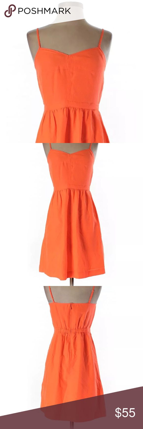 J. Crew Spaghetti Strap Dress in Orange Easy, breezy, throw-on-the go dress from J. Crew in a gorgeous orange color. Fabric is very lightweight an breathable so it's ideal for this Spring and into hot summer months. Perfect to pair with your favorite pot of flats for a casual look, or easy to dress up with heels and a statement necklace for a formal formal occasion. NWT!! J. Crew Dresses