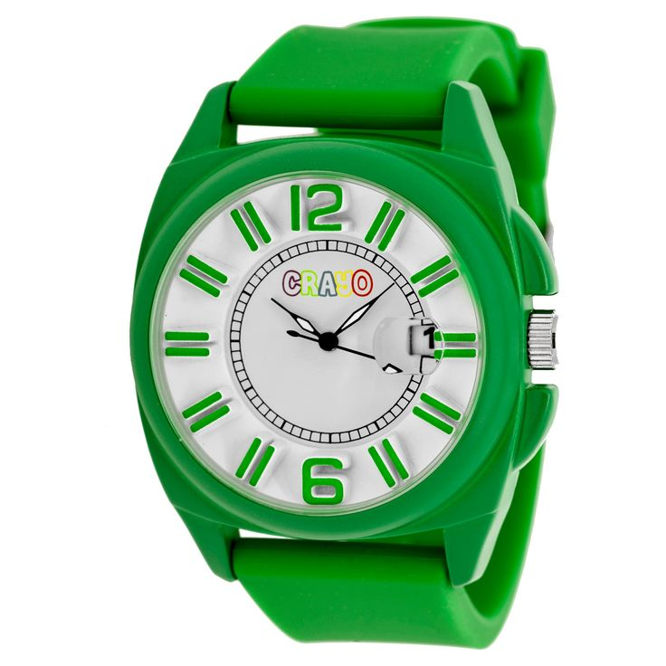 Women's Crayo Sunset Silicone Strap Watch-Green, green