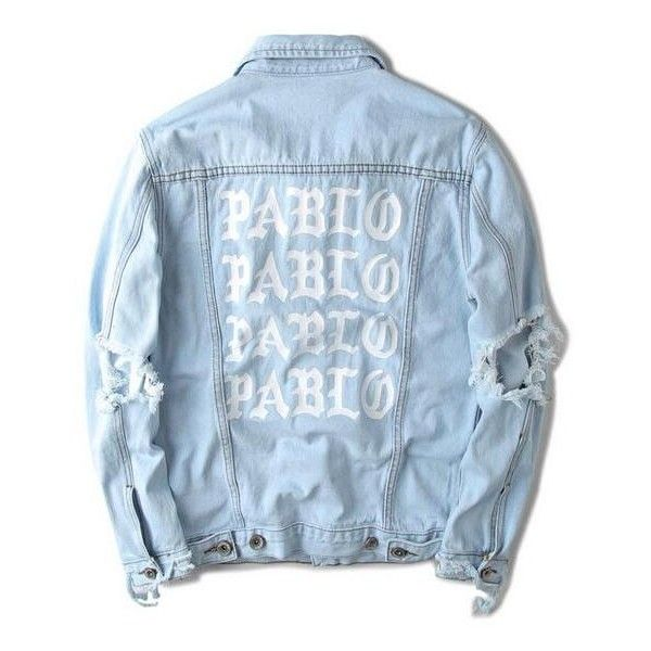 2016 hip hop hole jackets men clothing pablo distressed ripped denim... ❤ liked on Polyvore featuring men's fashion, men's clothing, men's outerwear, men's jackets, mens distressed leather jacket and mens distressed denim jacket