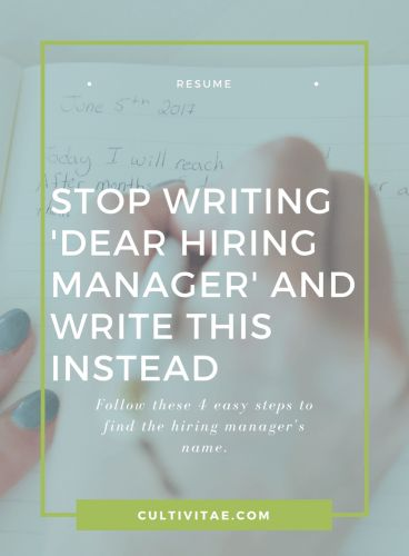 Stop Writing Dear Hiring Manager and Write This Instead | cover letter tips, resume advice, job search help, career recommendations, career advice, job hunt help #jobsearch #resume #coverletter #career #careeradvice