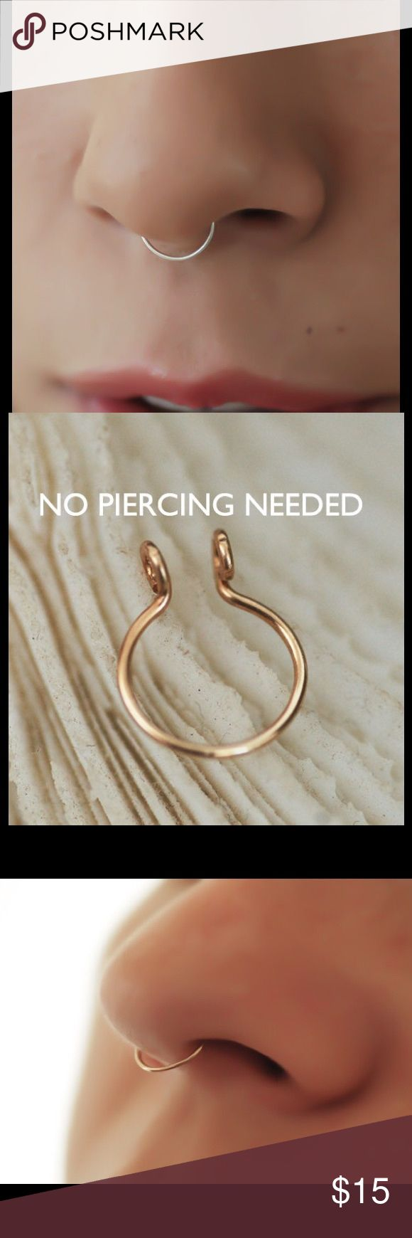 Skinny fake Septum ring A dainty fake/faux Septum ring made of either 925 Sterling silver, 14k yellow or rose gold filled. 20 gauge, 10mm in diameter. nejd Jewelry Necklaces