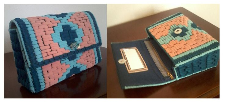 pochette da borsetta realizzata con collant colorati intrecciati su rete