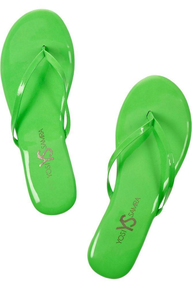 YOSI SAMRA ROEE NEON PATENT-LEATHER SANDALS 8 Green Flip Flops NIB Summer Shoes #YosiSamra #FlipFlops #Any