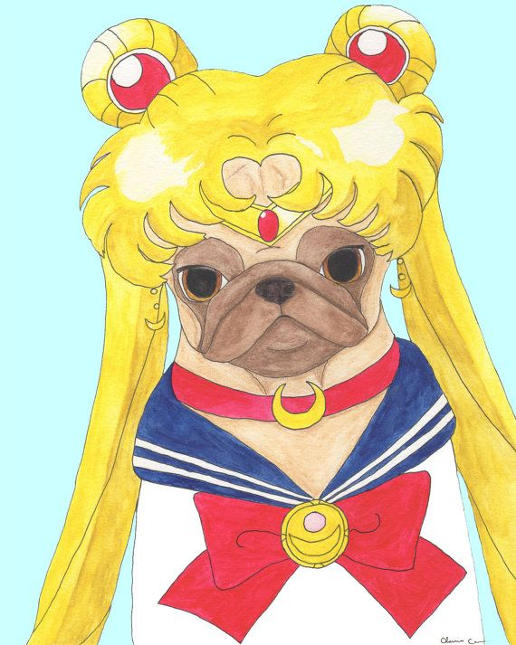 Sailor Moon Pug Art Print, Funny Animal Art, Pug Gifts, Dog Artwork, Dog Art, Dog Lover Gift, Anime Art Print, Fangirl, Hipster Animals